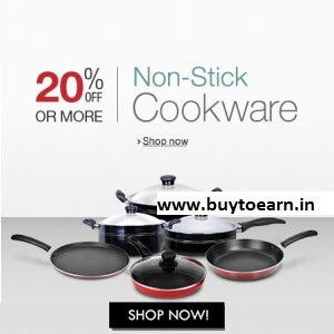 Non-Stick Cookware Minimum 20% to 60% off from Rs. 160 only