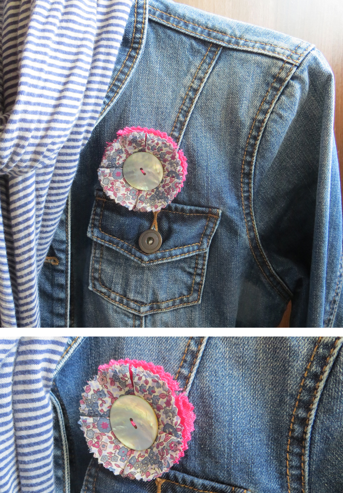 How to make a floral corsage by Poppy Sparkles #corsage #diy #tutorial #sewing #fabric #brooch