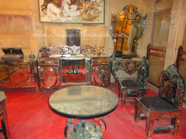 Silver and Belgian glass furniture at Patwa Haveli, Jaisalmer