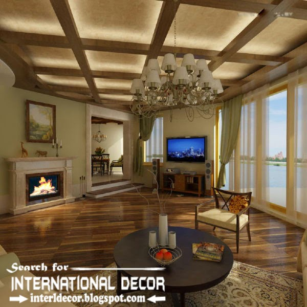 LED ceiling lights, LED strip lighting, coffered ceiling for living room