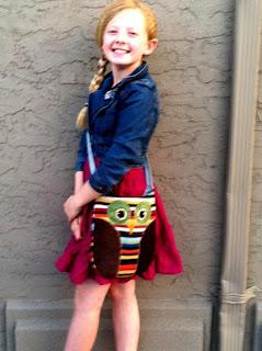 girl with owl bag