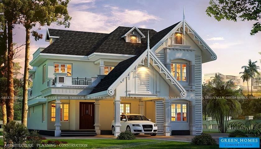 Green homes awesome european style house in kerala for European style home designs