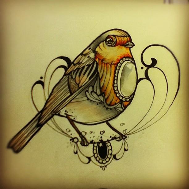 how to draw a tattoo bird