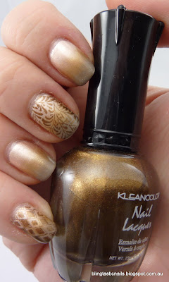 Beige Gradient Mani with nail art stamping
