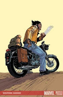 Wolverine looking bad ass on a motorcycle