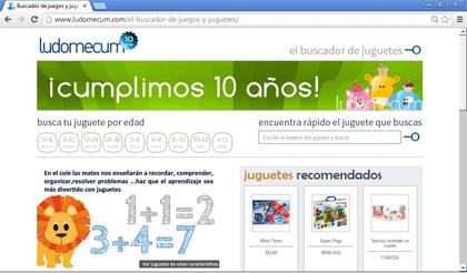 Ludomecum es un buscador de juguetes que te muestra los juguetes por rangos de edad, y otros aspectos importantes-