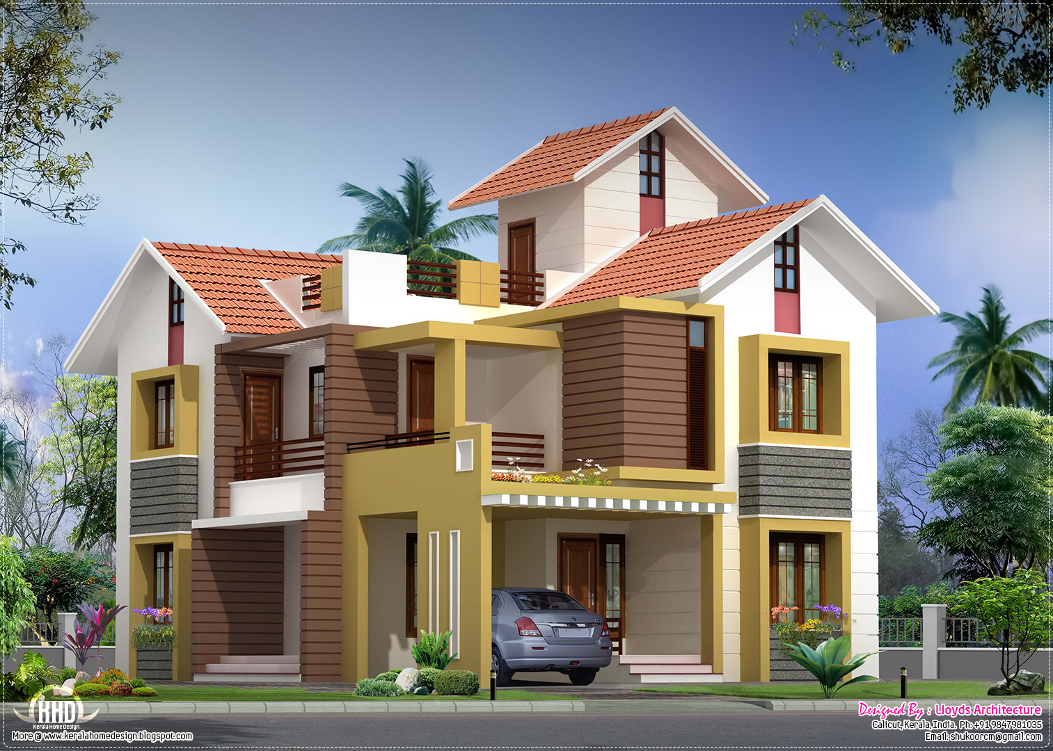 2000 villa floor plan and elevation house design for Villa plans in kerala