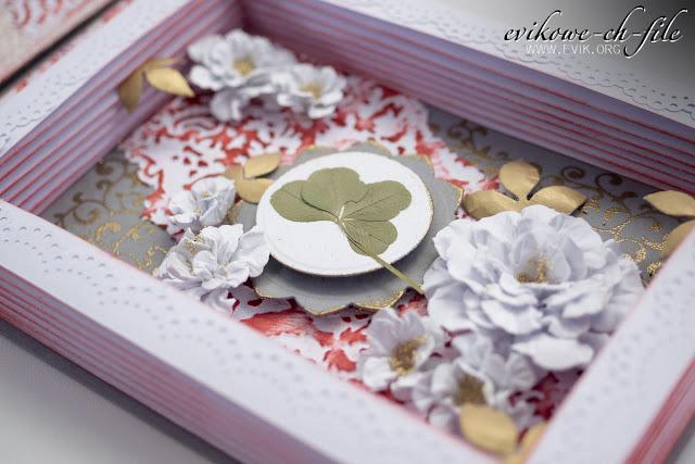 spellbinders rose creation, embossing na gorąco, Evik, Ewa Jarlińska, rękodzieło, kartka na ślub, kartka książka, czterolistna koniczyna