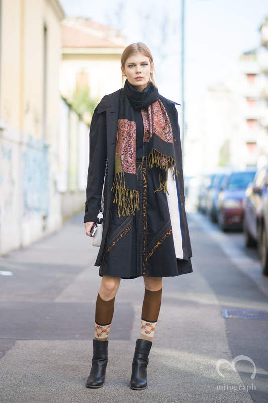 Model Alexandra Elizabeth leaves FENDI 2015-2016 Fall Winter season Milan Fashion Week MFW
