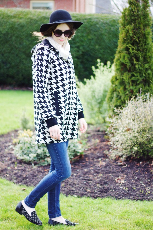 Houndstooth zara cape coat