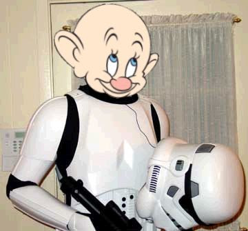 Dopey's head on a stormtrooper's body