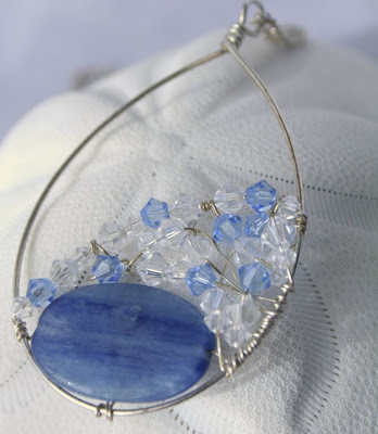Ada: Kyanite, sterling silver, Swarovski, necklace :: All Pretty Things