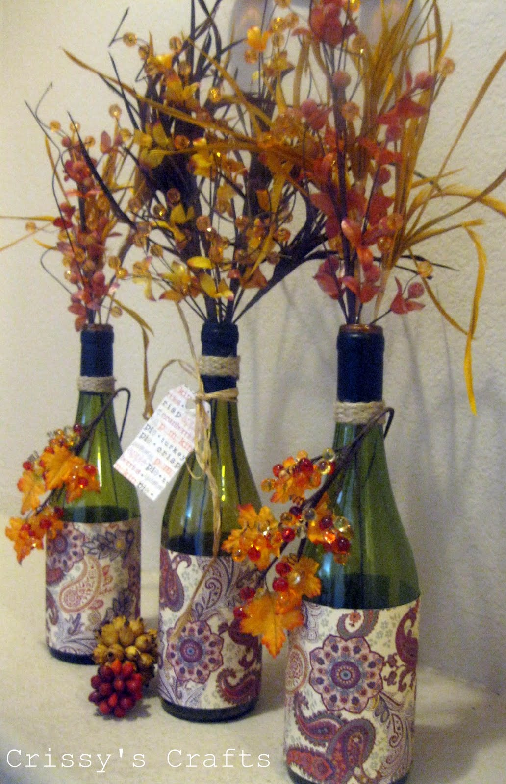 Crissy 39 s crafts up cycle fall vases made from glass bottles for Fall ideas crafts