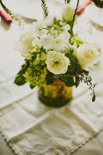 Vintage Wedding at Hermitage Isha Foss Events Floral Design White Green flowers in vintage tins