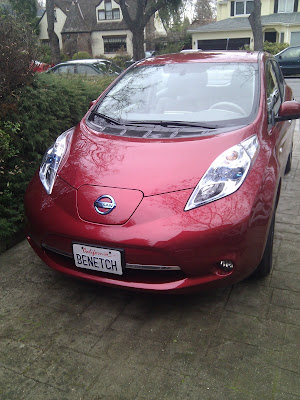 Nissan Leaf with Benetech license plate