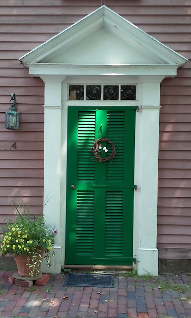 front door, salem, massachusetts, shadow, lantern, flowers, brick, sidewalk