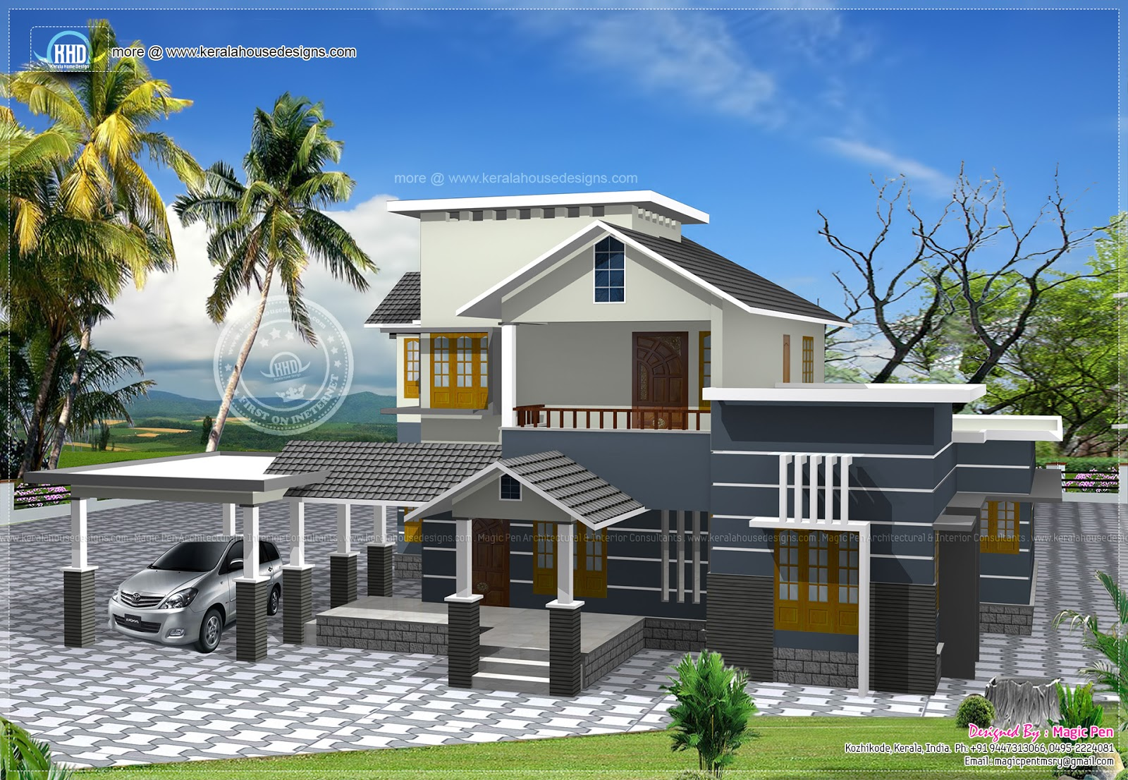 Double storied residential rendering kerala home design for Kerala home designs photos in double floor