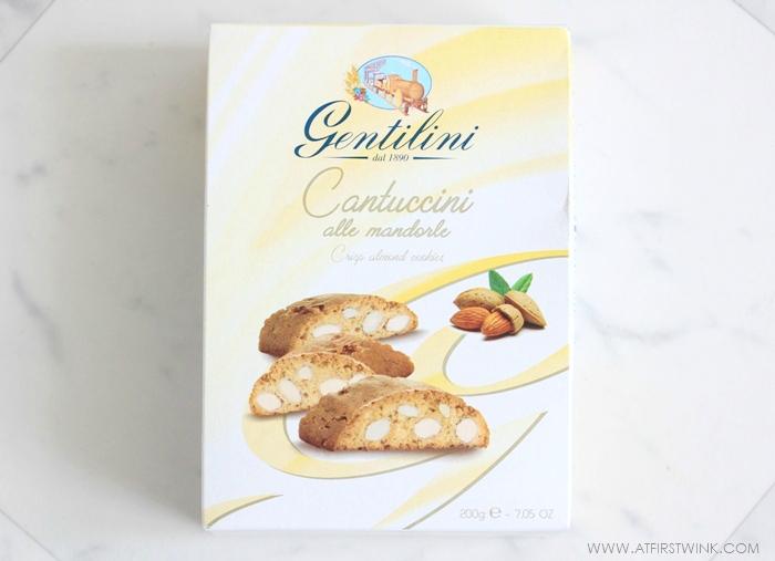 Box of Gentilini Cantuccini alle mandorle (crisp almond cookies)