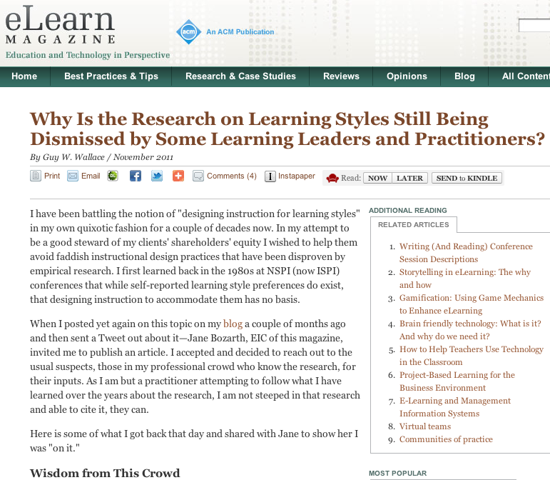 a description of the notion of learning styles The existence of learning styles: myth or reality strongest view against the existence of learning styles comes the hip model rejects the notion of learning.