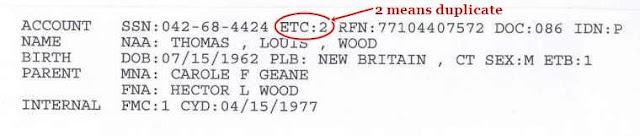 Thomas Wood's NUMIDENT File 04/15/1977 Duplicate