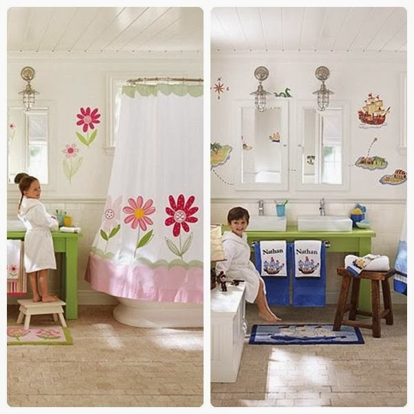 Diseno De Baños Para Ninas:En esta foto de decoración de baño para niño y niña vemos como los