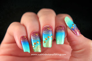 Gradient and water decal nail art