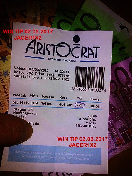 OUR WIN TICKET FROM YESTERDAY/ THURSDAY 02.03.2017