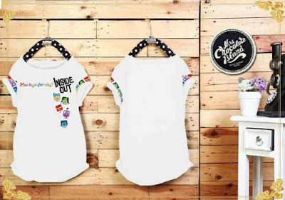 Atasan Kaos Inside Out White - 10261