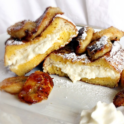 ... Eyes Eat First: Ricotta Stuffed French Toast with Caramelized Bananas