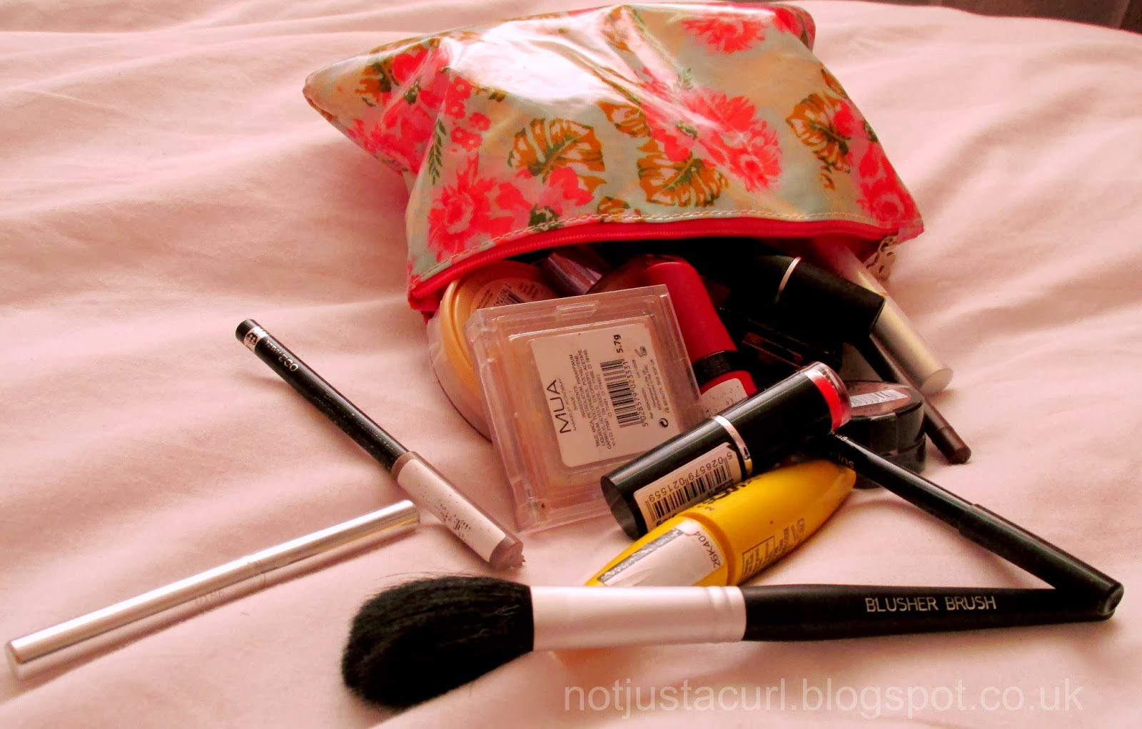 A photo of my make-up bag contents