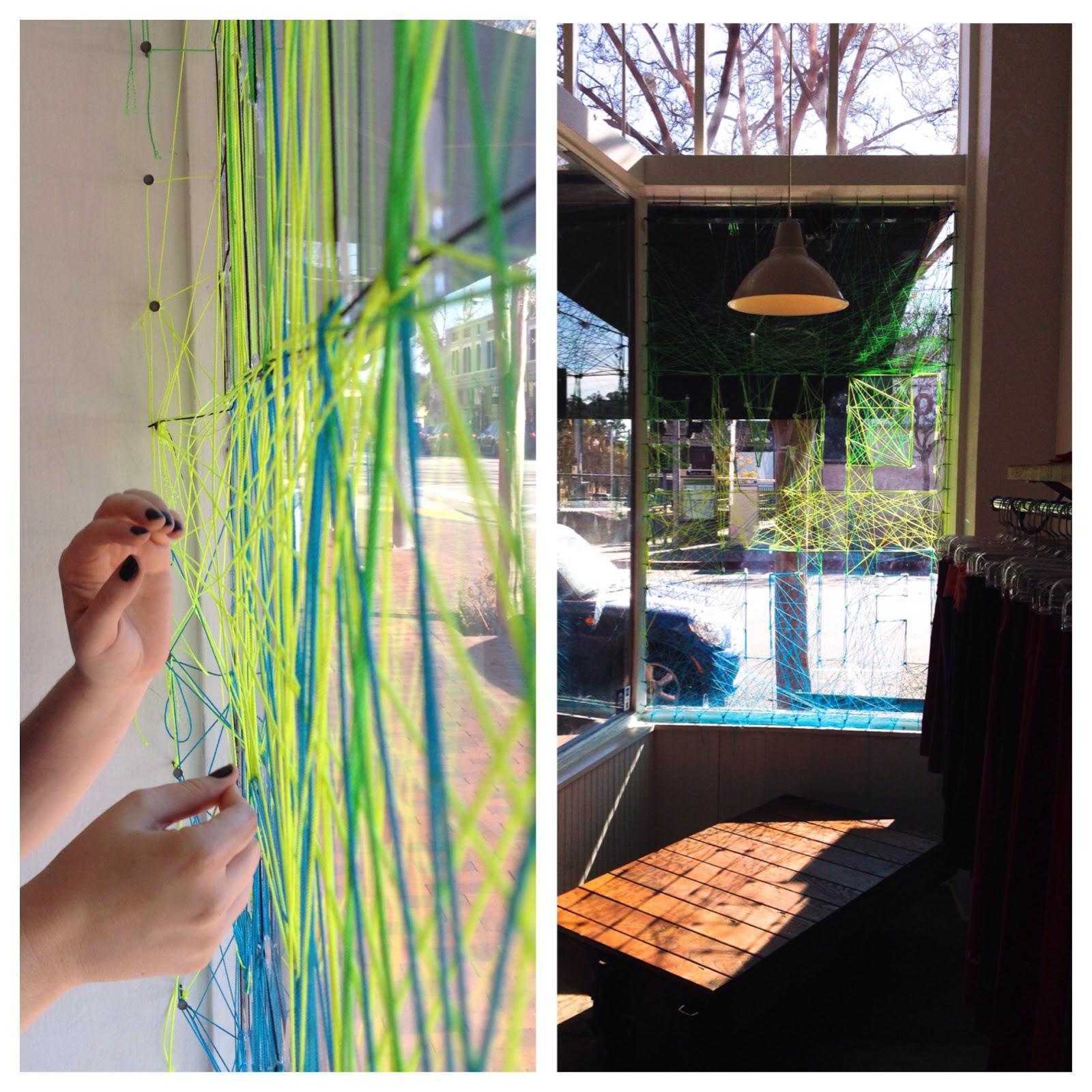http://www.wodgearclothing.com/ string art window display with www.greenbugmarketplace.esty.com