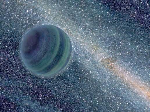 Ilustrasi ini menggambarkan planet raksasa mengambang bebas tanpa bintang induknya. Para astronom baru-baru ini menemukan bukti tersebut. Matahari mungkin telah menangkap planet tersebut seperti yang ditunjukkan oleh studi baru yang mungkin berada di tepi tata surya.