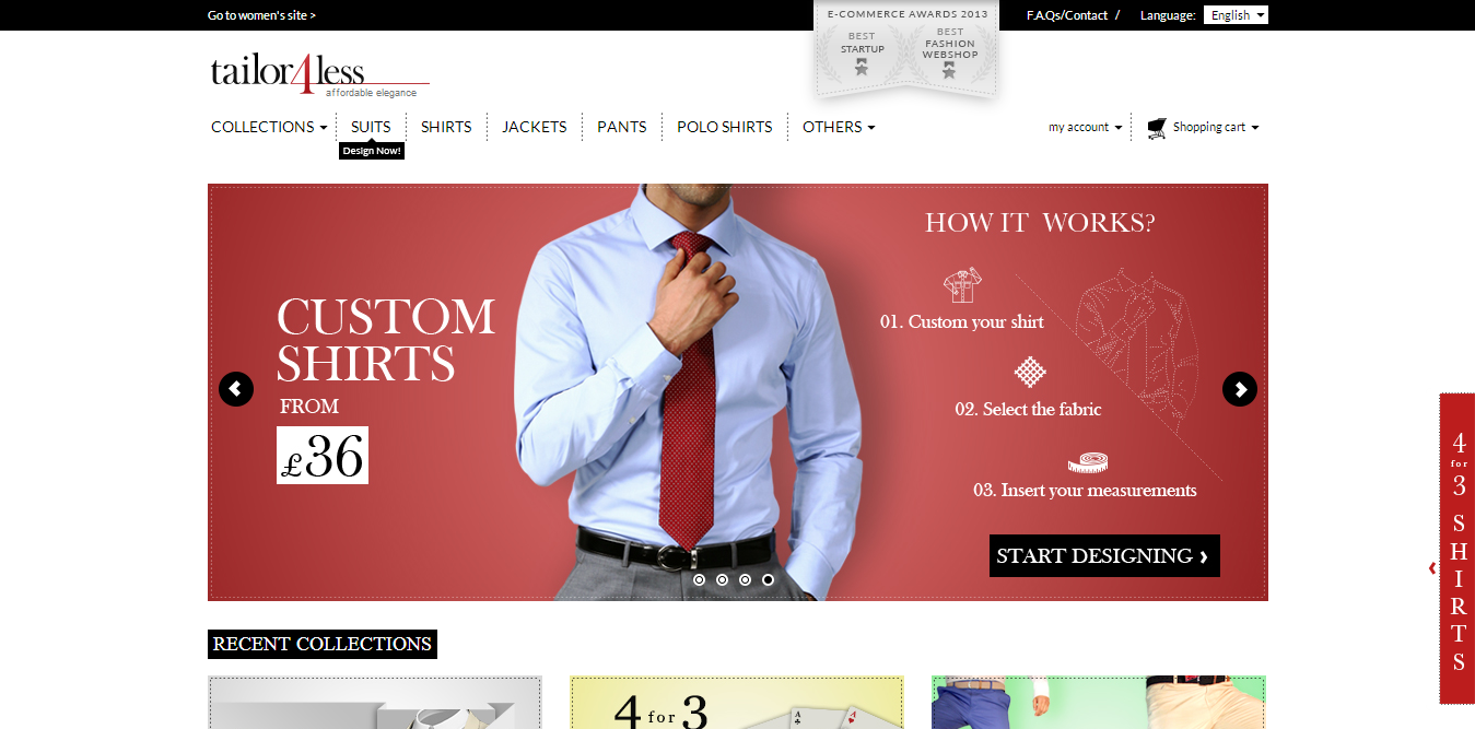 Tailor4less Slide on homepage