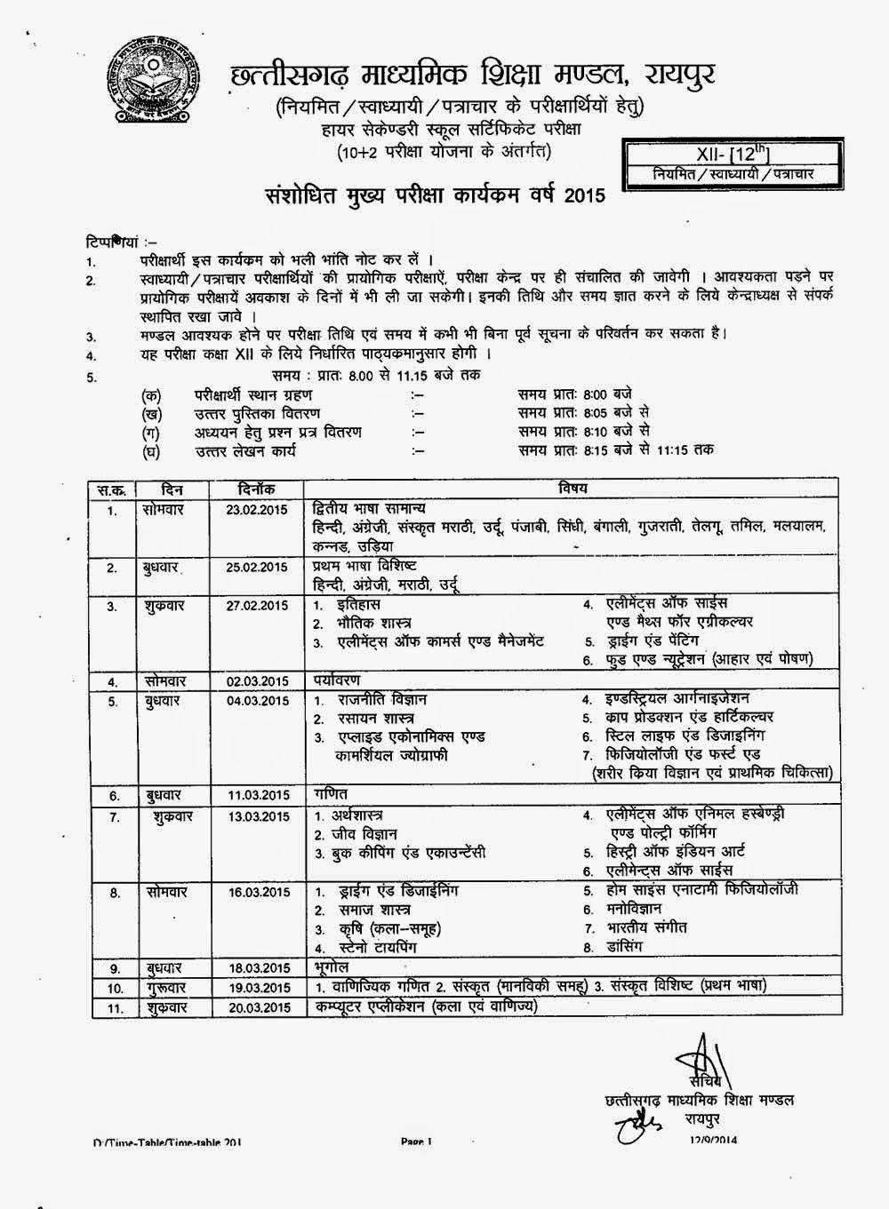 CG 12th Plus Two board General Regular Private SOS Date Sheet 2015