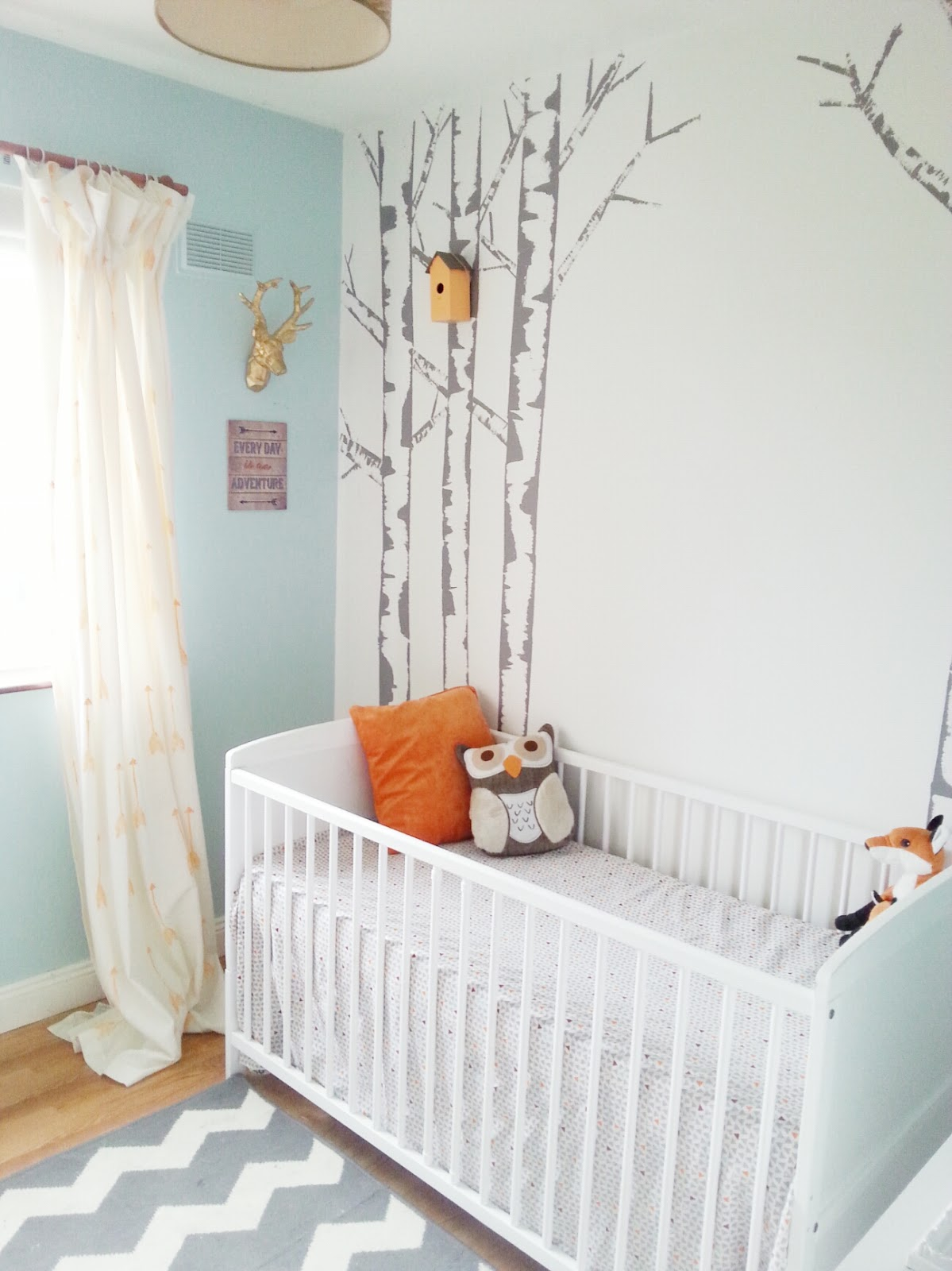 Max 39 s room reveal finally make do and diy for Diy birch tree wall mural