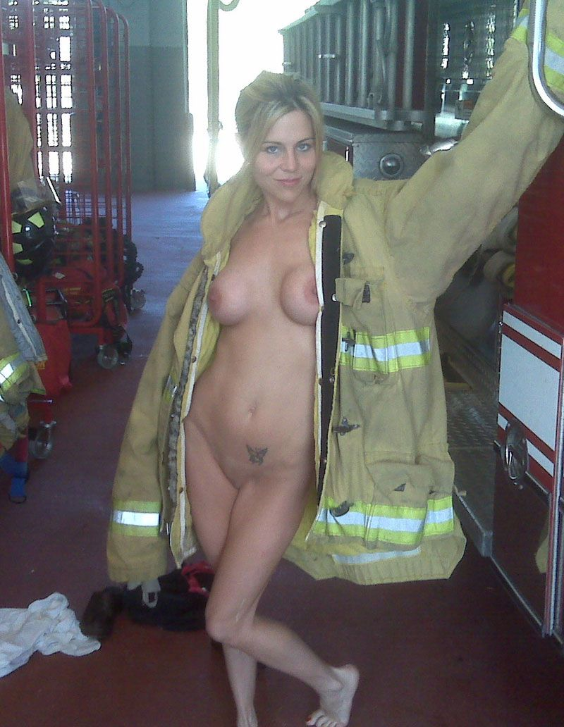 Female nude firefighter women