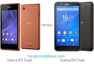 Harga dan Perbedaan Sony Xperia E3 Dual dengan E4 Dual