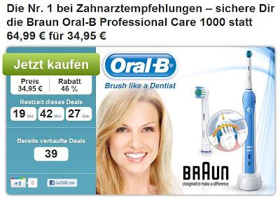 DailyDeal: Braun Oral-B Professional Care 1000 via Gutschein für 34,95 Euro