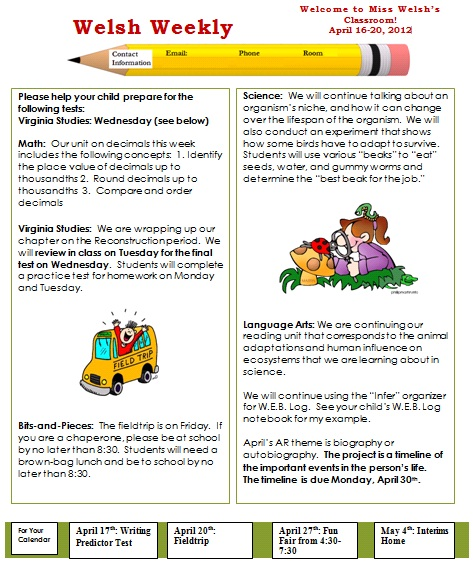 classroom newsletter template cake ideas and designs