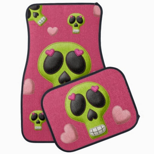 girly pink green skulls car mat set