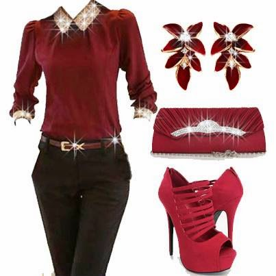 Gorgeous ladies gullitering lace  full sleeved brown dress with slim pant and some other outfits matching color like floral ring,purse and strappy high heel shoes