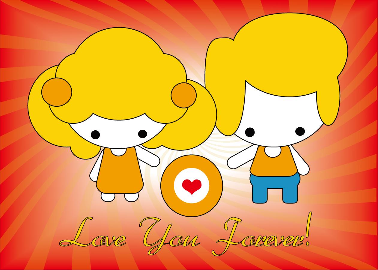 愛するカップルの漫画キャラクター Love couple cartoons イラスト素材