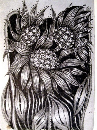 Sunflowers zentangle
