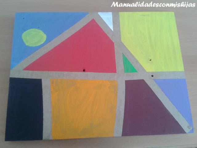 Manualidades con mis hijas pintura de formas geom tricas for Cuadros con formas geometricas