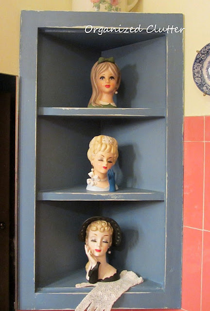 Headvases in a vintage bathroom