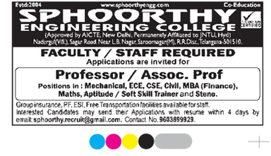Employment News Sphoorthy Engineering College