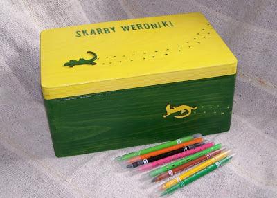 pudełko na zabawki jaszczurka
