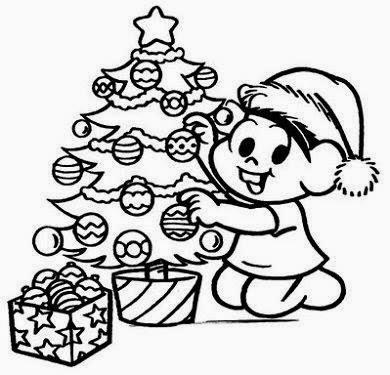 desenho monica para pintar natal