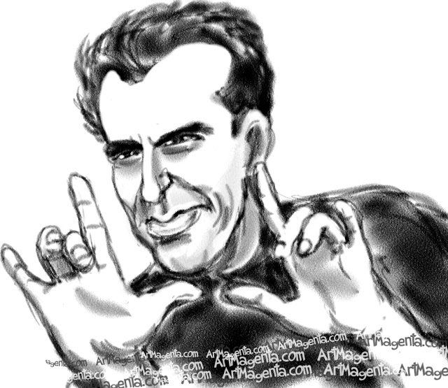 David Copperfield caricature cartoon. Portrait drawing by caricaturist Artmagenta.