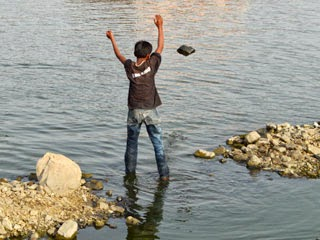 Through stone in lake of Jal Mahal